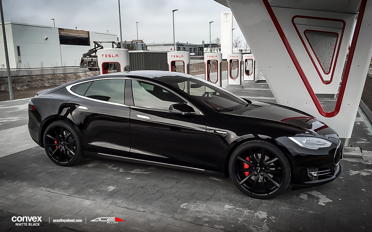 "20"" wheel Matte Black Convex D704 Tesla Model S avail.Black/Silver/Titanium/Hyper Silver Machined Face"