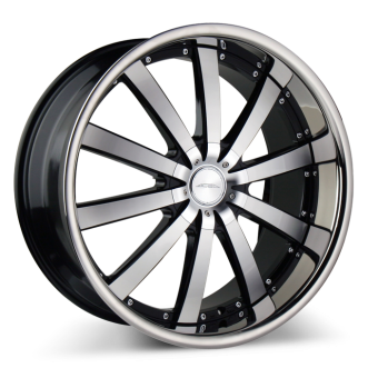 EXECUTIVE C853 Black Machined with Stainless Steel Lip wheels & rims